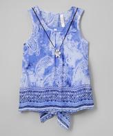 Beautees Blue Tie-Dye Tank & Necklace