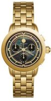Tory Burch Tory Chronograph Goldtone Stainless Steel & Black Mother-Of-Pearl Bracelet Watch