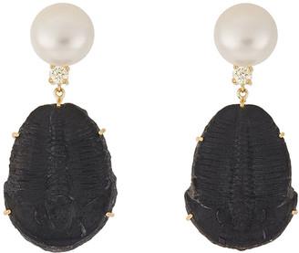 Jan Leslie 18k Bespoke 2-Tier Tribal Luxury Earrings w/ Pearl, Trilobite Fossil & Diamonds