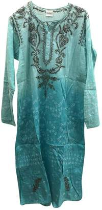 Green Cotton Blue Hippy Dress for Women