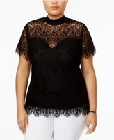 Almost Famous Trendy Plus Size Mock-Neck Lace Top