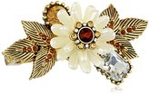 "Betsey Johnson Iconic Summer Metallics"" Pearl Flower Two-Finger Stretch Ring, Size 7.5"