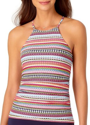 Anne Cole Signature Jet Set Stripe High Neck Tankini Top