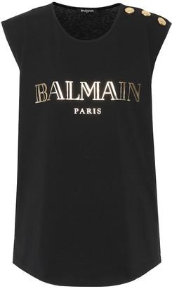 Balmain Sleeveless printed cotton T-shirt