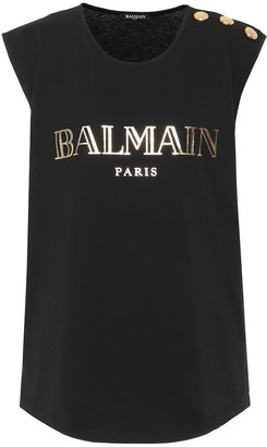 Balmain Sleeveless printed cotton T-shirt