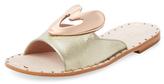 Ivy Kirzhner Heart Metallic Leather Slip-On Sandal