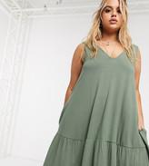 Asos DESIGN Curve concealed pocket mini dress with tiered hem in khaki