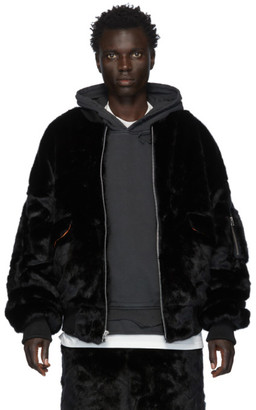 Landlord Black Faux-Fur Bomber Jacket