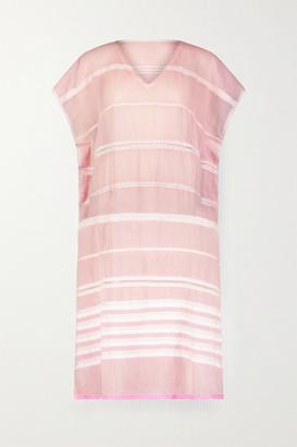 Lemlem Lola Fringed Striped Cotton-blend Gauze Midi Dress - Blush
