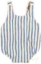 Stripes Linen Bodysuit W/ Lace