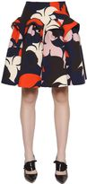 DELPOZO Flared Floral Printed Cotton Crepe Skirt