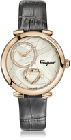 Salvatore Ferragamo Cuore Rose Gold IP Diamonds Women's Watch w/Grey Croco Embossed Strap