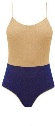 Oseree Colour-block Metallic Swimsuit - Womens - Blue Multi