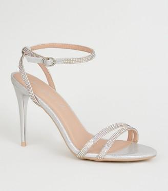 New Look Shimmer Diamante Strappy Stilettos