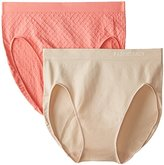 Ellen Tracy Women's Dot Jacquard Hi Cut Panty 2 Pack