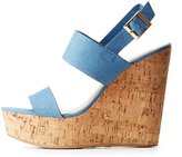 Charlotte Russe Bamboo Denim Cork Wedge Sandals