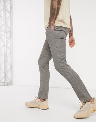 Topman skinny smart pants in brown puppytooth check