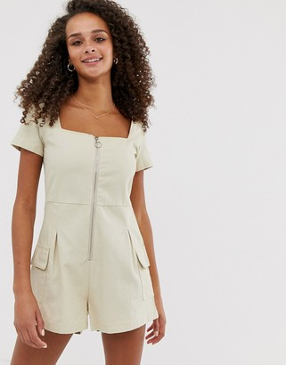 Daisy Street utility playsuit with ring pull