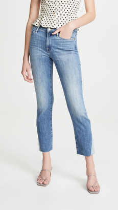 Frame Le High Straight Side Triangle Gusset Raw Edge Jeans
