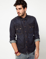 Nudie Jeans Shirt Guston Denim Organic Blue