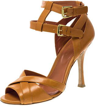 Sergio Rossi Orange Leather Cross Strap Peep Toe Sandals Size 38