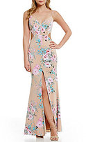 GB Social Floral Print Cut Out Gown