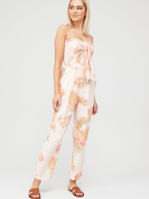 River Island Printed Shirred Beach Jumpsuit - Pink