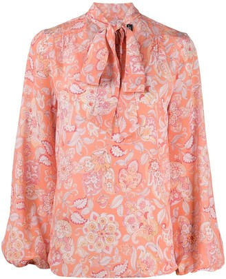Rixo Moss floral print tied-neck blouse