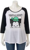 "Disney Disney's Tsum Tsum Juniors' Plus Size ""100% Lucky"" Tee"