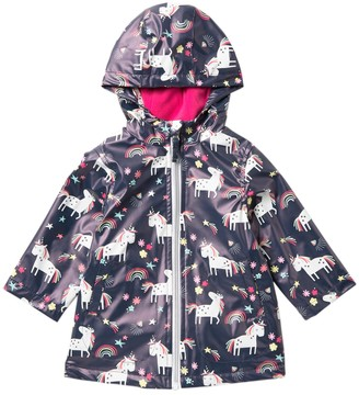 Pink Platinum Unicorn Rainbow Printed Rain Jacket (Baby Girls)
