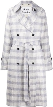 Acne Studios Checkered Double-Breasted Trench Coat