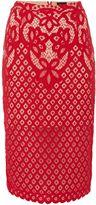 Bardot Embroidered Lace Midi Skirt