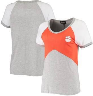 Women's Orange/Heathered Gray Clemson Tigers Bold Ambition Colorblock V-Neck Raglan T-Shirt