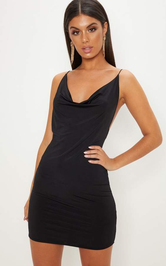 PrettyLittleThing Black Slinky Cowl Neck Scoop Back Ruched Bodycon Dress