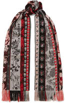Alexander McQueen Fringed Organza And Jacquard Scarf - Red