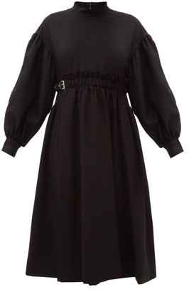 Noir Kei Ninomiya Ballon-sleeve Buckled-waist Wool-blend Midi Dress - Black