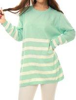 Allegra K Women Long Sleeves Stripes Loose Tunic Knit Shirt S Grey