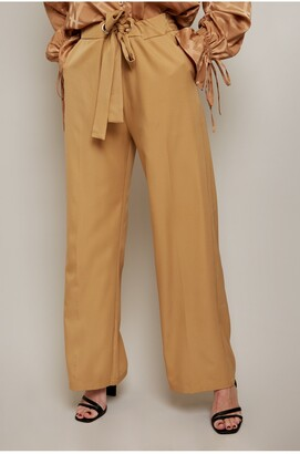 Little Mistress Victoria Camel Tailored Wide Leg Trouser With Waist Tie Detail