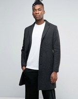 Selected Wool Mix Herringbone Overcoat