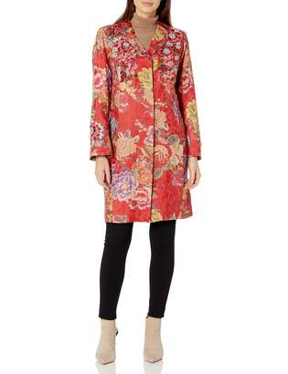 Johnny Was Biya Biya by Women's Printed Floral Coat with Applique and Jewel Detail