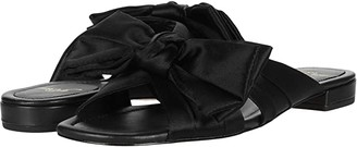 J.Crew Satin Bow Leather Lucy Slide (Black) High Heels