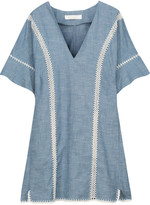 Chloé Crochet-trimmed cotton-chambray mini dress