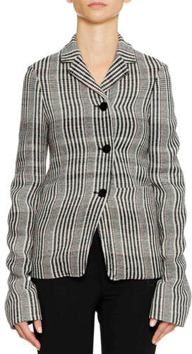 Jil Sander Three-Button Plaid Check Shrunken Blazer w/ Oversized Patch Pockets