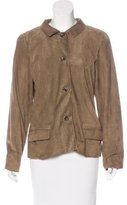 Carolina Herrera Suede Button-Up Jacket