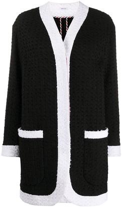 Thom Browne Unconstructed Dropped Shoulder Menswear Fit Cardigan Jacket w/ Combo In Solid Eyelash Yarn Tweed