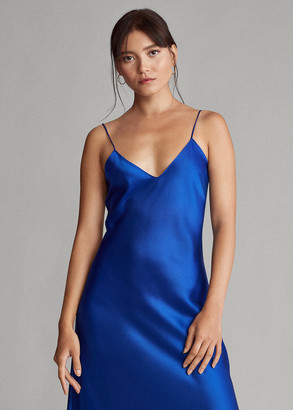 Ralph Lauren Lace-Trim Satin Slip Dress