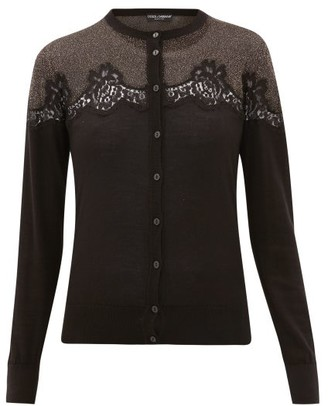 Dolce & Gabbana Chantilly Lace And Lame-insert Cardigan - Womens - Black Gold