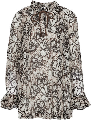 See by Chloe Snake-print Plisse Cotton And Silk-blend Gauze Blouse