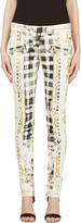Balmain White & Yellow Signature Print Pants