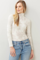 French Connection Zyne Tie Dye Turtleneck Top Ivory XS